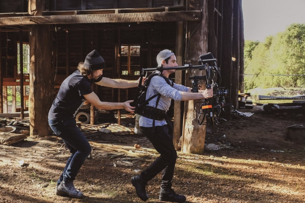 Gav and Mitch flying the Red Scarlet-MX on a Movi